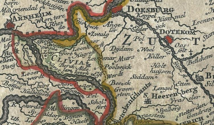 Het Gelderse grensgebied op een kaart van Matthaeus Seutter